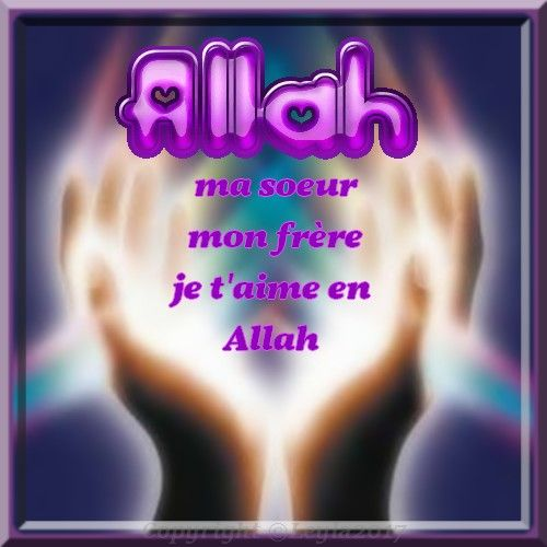 Ma Soeur Mon Frère Je Taime En Allah